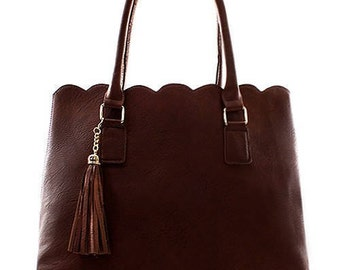 Monogrammed Scalloped Top Faux Leather Handbag with Tassel