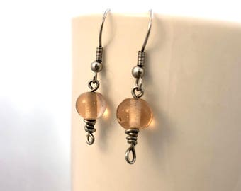 Pink Glass Bead Dangle Earrings with Wire-Wrapped Effect