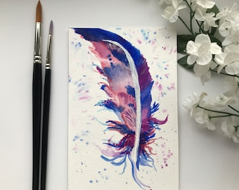 Miniature Feather Watercolour Painting