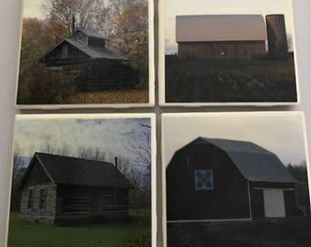 Set of 4 handmade barn and building photo coasters