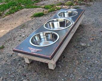 Elevated Dog Feeder, Raised Dog Bowl, Distressed Gray White Pet Stand, Dog Food, 2 Two Qt, 1 Three Qt, Stainless Bowls Made to Order
