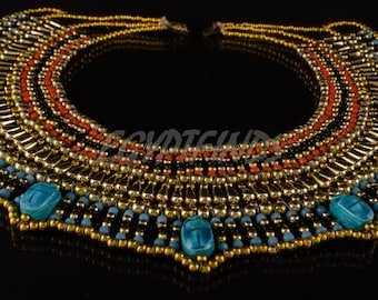 Gorgeous Egyptian Beaded Cleopatra 7 Scarabs Necklace Collar