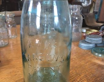 Antique aqua Atlas Mason's 1/2 gallon glass canning jar patent Nov. 30th 1858