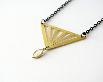 triangle charm necklace, gift for her