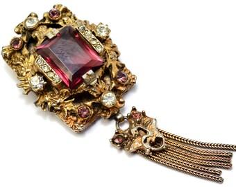 Victorian Revival amethyst glass clear rhinestone tassel dangle brooch