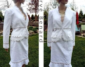 Vintage costume blanc incroyablement Adorable pour printemps été costume Florian Designer Benard coton dentelle Ultra féminine 2 pc