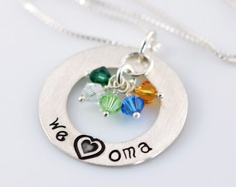 "We Love Oma Necklace - 1"" Hand Stamped Sterling Silver Donut, Birthstone Crystals SJ174"