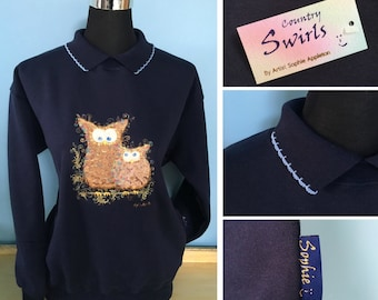 Owl Navy Sweater with collar Swirly detailed Embroidery. Desiged by Sophie Appleton a popular U.k. Artist. Country Swirls. S M L XL