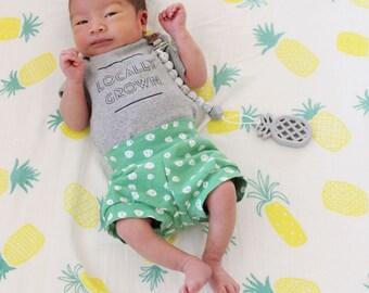 Baby shorts - organic shorts- Toddler shorts - shorties - harem shorts - organic baby clothes - st patricks day shorts - easter shorts -