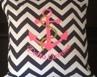 Delta Gamma Nautical Navy Chevron Pink Embroidered Anchor Pillow