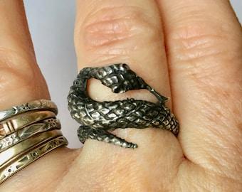 vintage sterling snake ring, size 6.5