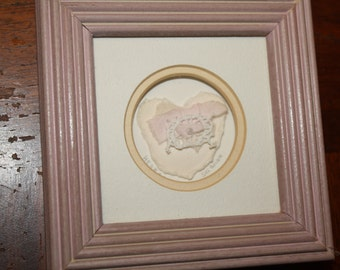 Handmade Heart Framed Artworked Ripped Paper by Sha Boudin
