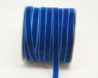 Velvet Woven Ribbon Trim -- 3/8 inches -- Royal Blue