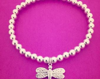 Sterling Silver Dragonfly Charm Bracelet