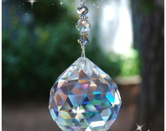 Large Prism Crystal Suncatcher, Hanging Crystal Rainbow Maker, Home Decor, Window Decoration