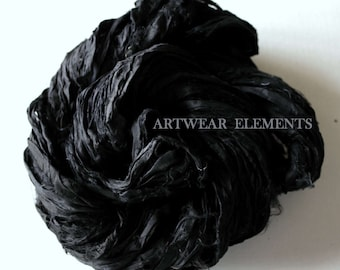 Pure Sari Silk, Art Deco Black, 5 Yards, Recycled Sari Silk, Fair Trade, Textile, Art Yarn, Black Ribbon, Ribbon, Artwear Elements, #61
