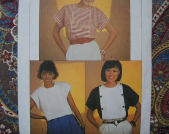 vintage 1980s Simplicity sewing pattern 6752 misses' easy to sew top in two lengths  UNCUT size 10-12-14
