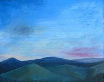 landscape and fields, original oil painting, 30 x 20 cm, small painting sunset