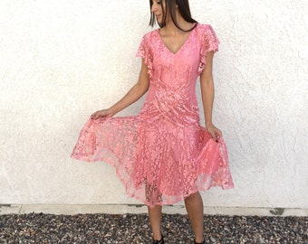 Pretty in pink 80's lace dress