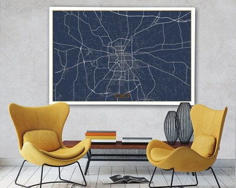 """TYLER Canvas Map Large 60""""x40"""" Stretched Canvas Map Tyler Texas City Map Print Tyler Texas poster map art Jack Travel"""