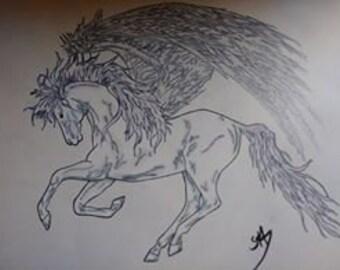 OOAK Pegasus Original dessin au crayon de couleur