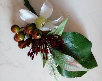 Woodland white flower berries natives boutonniere corsage