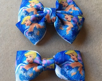 Cinderella printed ribbon hairbow clips- double and single