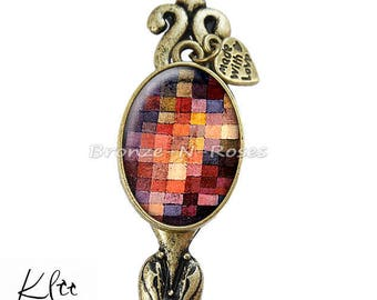 """Bookmark """"Painting tiles"""" Klee fantasy glass cabochon bronze jewelry"""