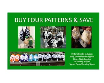 4 Instant Downloads - includes Donegal Cap - Baby Ghillies - Hockey Skates - Soccer Cleats - PDF Crochet Patterns - Save on 4