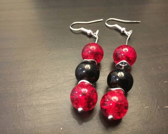 Pair of red and black glass bead earrings