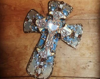 CROSS SALE Wall crosses cross religious art christian art mixed media handmade cross