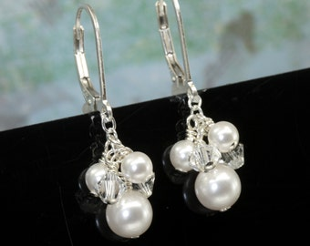Leverback Pearl Earrings, Pearl Wedding Earrings, Pearl Bridal, Wedding jewellery, Cluster Earrings, Pearl Drop Earrings