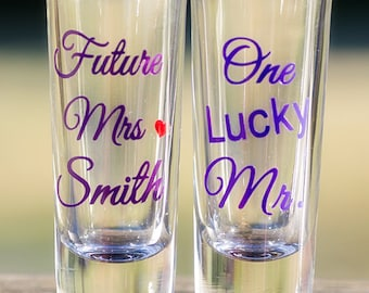 Set of 2 - Future Mrs. and One Lucky Mr. Shot glasses, Bride and Groom shot glasses, Violet and Purple colors.
