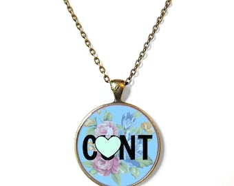 MATURE - C*NT Necklace with Floral Print Bronze Pendant - Funny Pastel Goth, Kawaii, or Soft Grunge Pendant