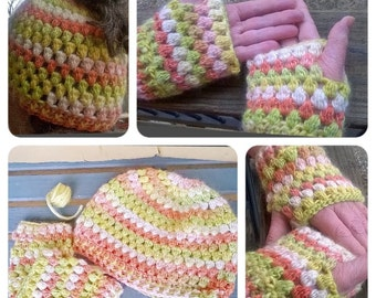 Crochet Popcorn Stitch Messy Bun and Fingerless Gloves Set