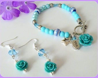 Aqua Blue Resin Rose Charm Wish Star Charm Bracelet and Earrings Set