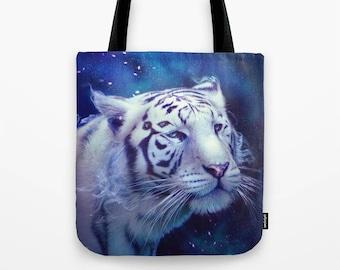 Tiger Tote Bag, Canvas Tote Bag, canvas bag, shoulder bag, shopper, print, gift for her, shopper bag, white tiger illustration, animal bag