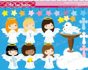 Angels Girls Clipart (CG006), for Personal and Commercial Use / Card Design/ Scrapbooking/ Web Design/ INSTANT DOWNLOAD