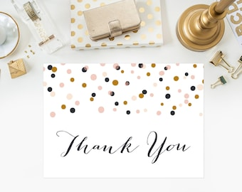INSTANT DOWNLOAD Thank You Card - Confetti Dots Thank You Card - Modern Thank You Flat Card - 5 x 7
