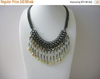 ON SALE Vintage Dark Metal Link Chain Chandelier Faceted Glass Beads Necklace 41818