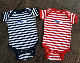 Blue Marlin Embroidered red or navy and white striped Onesie infant creeper size 6 and 12 months fishing gift baby