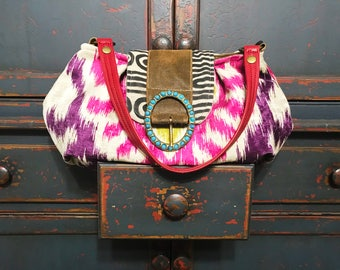 Unique handmade tapestry shoulder bag with leather embellishments and lots of pockets, boho, bohemian, gypsy, hippy, vegan, tribal, carry on