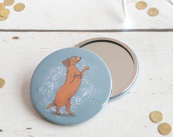 Pocket Mirror, Dachshund stocking filler, Dachs girlfriend gift, secret santa, gift ideas, Weiner purse mirror, Compact mirror, gift for her
