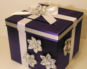 Wedding Card Box Purple,White and Silver Gift Card Box Money Box  Holder--Customize in your color