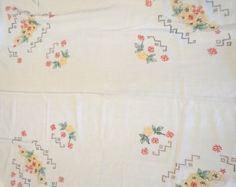 """Vintage Tablecloth Cover 50"""" x 44"""" Hand Embroidered Hardanger Edge"""
