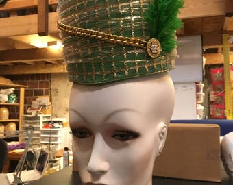 Green and gold hat