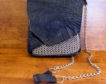 """Black Lambskin Leather and Chainmail Purse  with a spike button - 10"""" x 8"""" x 1 1/2"""", and 50"""" choke chain strap"""