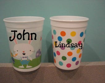 Easter Plastic Cups with Your Own Personalization on them Great for Class Parties, Birthday Parties, Teacher Gifts.