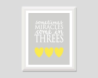 Triplet Nursery Art, Sometimes Miracles Come In Threes, Triplet Quote, Triplet Nursery Decor, Triplet Baby Gift, Triplet Shower Baby Shower