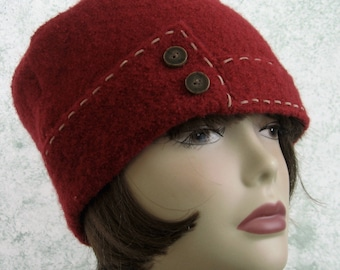 Womens Winter Hat Cranberry Red Wool Brimmed With Tan Saddle Stitch Trim Chemo Hair Loss Hat Head Size 21-23 Inch
